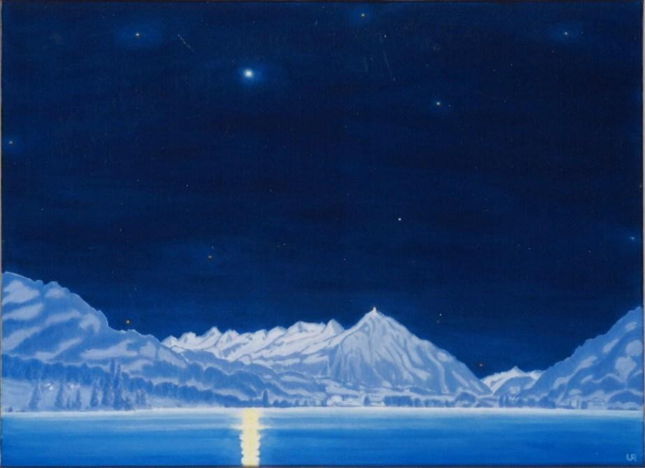 URWYLER Hansueli-Romance lac de nuit de nouvel an-110×81 cm