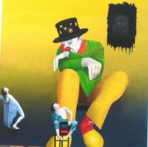 BLANQUET Pierre-Divine comédie-Huile- 70 x 70 cm