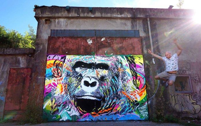 Mur peint en mode vandale à Decazeville par Jo di Bona