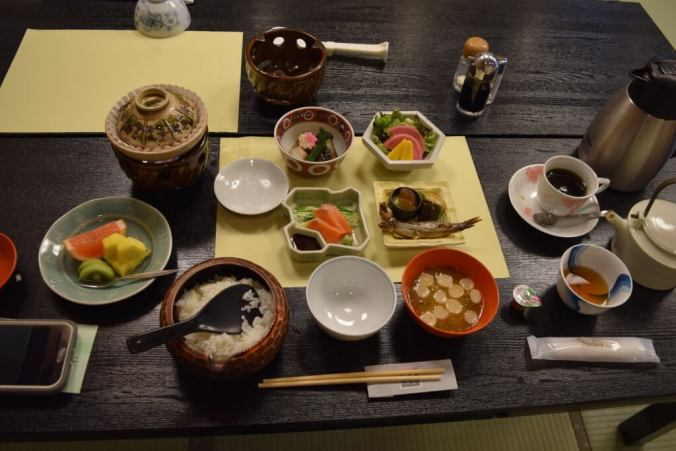 Traditional Japanese breakfast at a Ryokan in Nagoya.