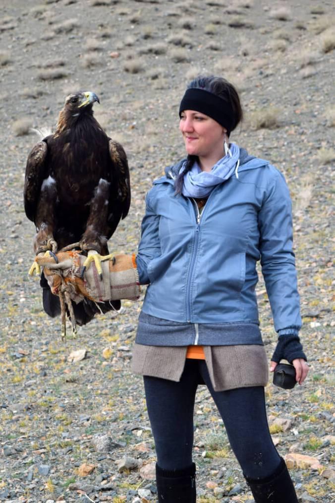 Natasha Raymond holding Eagle