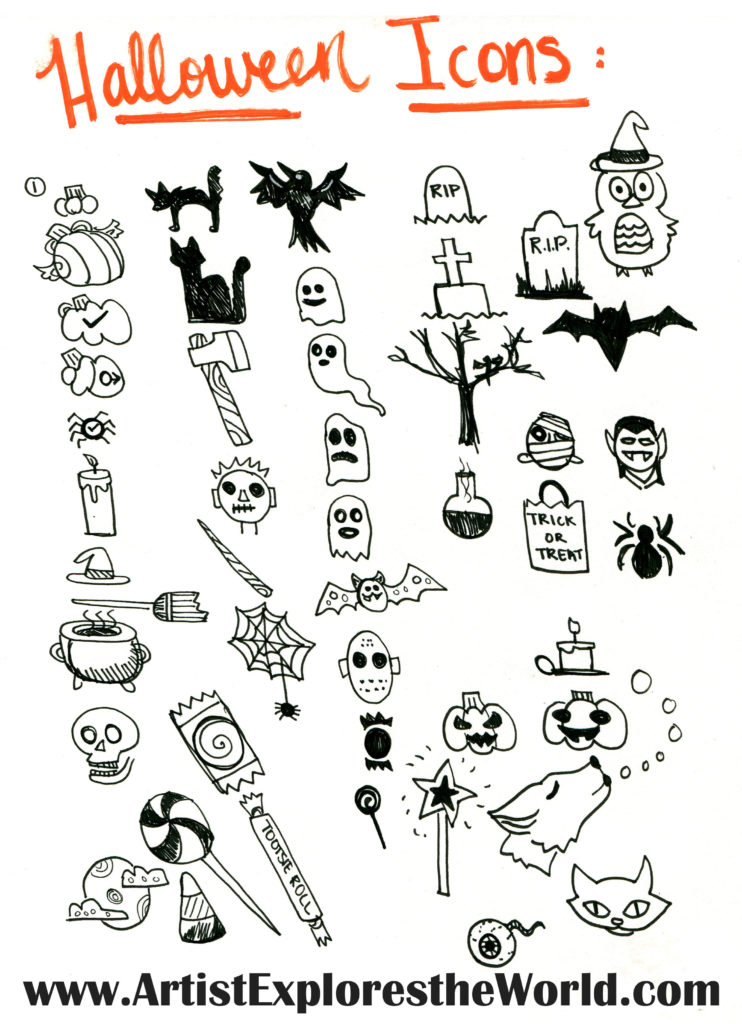Halloween Headers and Icons for Your Bullet Journal