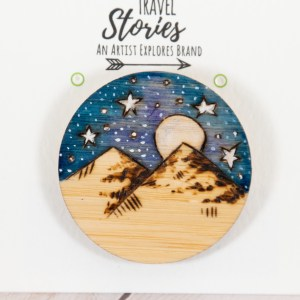 Wood burned Mountains and Stars Jewelry Pin Front