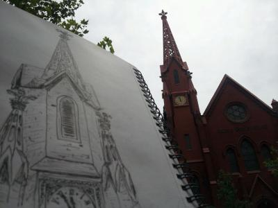 artistic biker church sketch