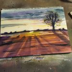 Watercolor painting of a sunset