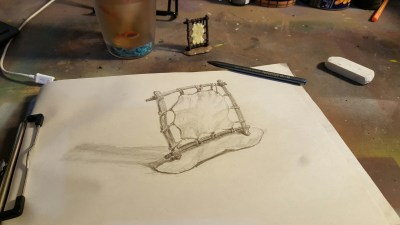 Image of a sketch of a toy skin drying rack toob
