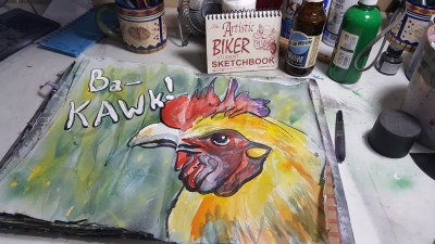 mixed media rooster painting in an art journal