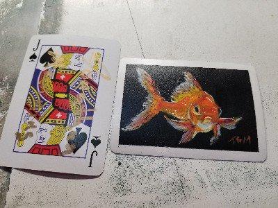 Acrylic on a playing card #acrylic #minipainting #micropainting #atc #artisttradingcard #artcard