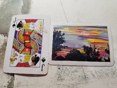 Acrylic on a playing card#acrylic #minipainting #micropainting #atc #artisttradingcard #artcard