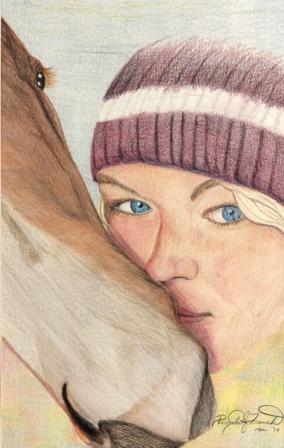 colored pencil drawing of a girl and her horse