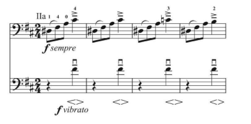 In third Duos Op. 9 Grutzmacher write the word vibrato