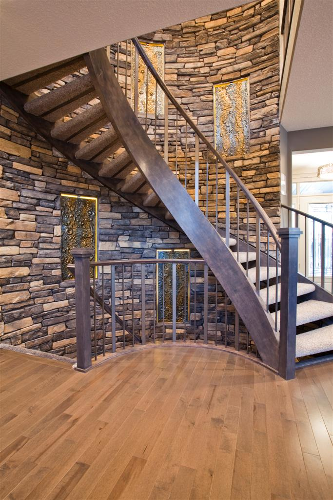 Curved Staircase Wood And Metal Designs Artistic