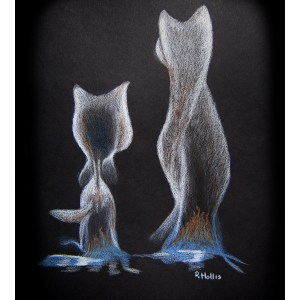 Smokey Cats 9″x 12″