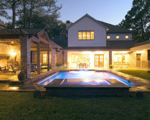 backyard retreats, geometric pools, custom swimming pools, modern pool design, outdoor lighting