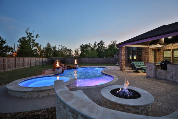 fire pit, pool deck, freeform pool, pool design, pool construction, outdoor living