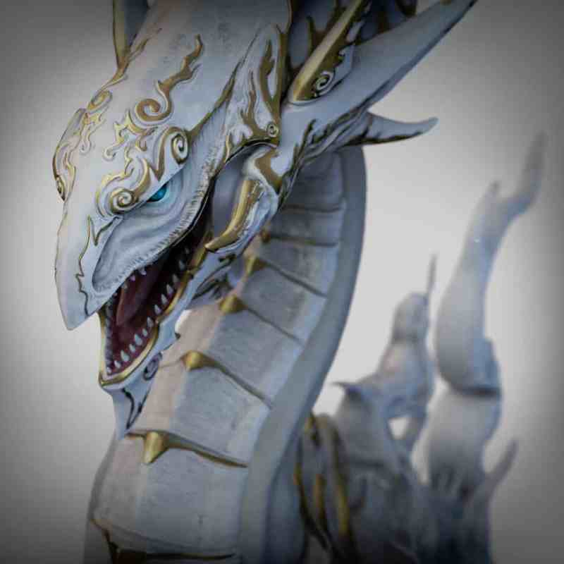 Lontarz lin yu-gi-oh blue eyes dragon 3d model sculpt sculpture fanart zbrush