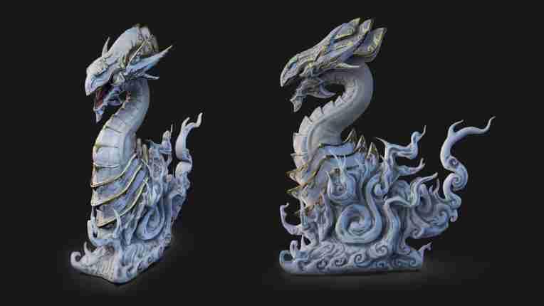Lontarz lin yu-gi-oh blue eyes dragon 3d model sculpt sculpture fanart zbrush