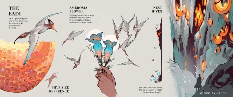 Airi pan ambrosia honey magic concept art design illustration