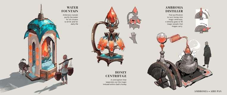 Ambrosia honey magic concept art design illustration