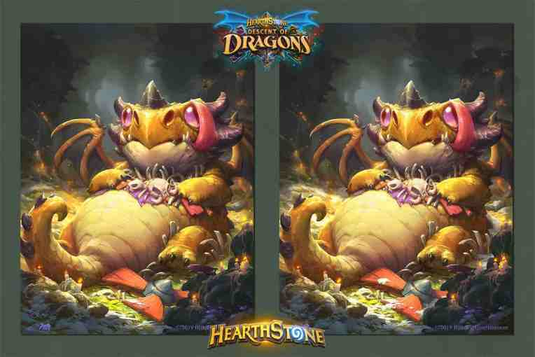 Yare Yue concept art illustration of dragon Big Ol' Whelp for hearthstone