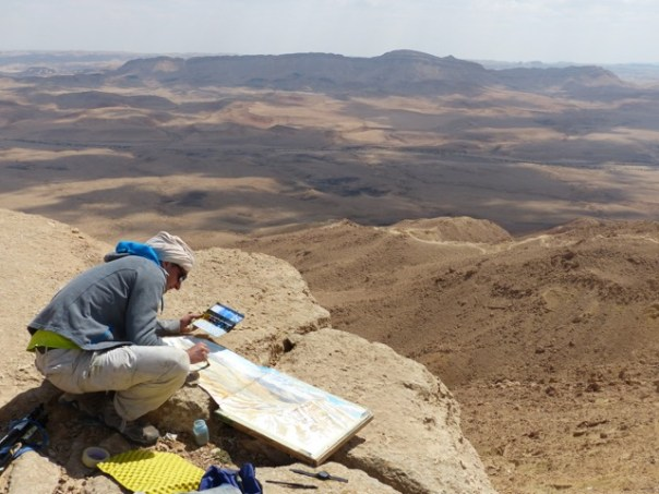 La Grande Annee Laurent Willenegger at work in the Negev desert in Israel