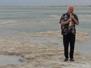 Paul Winter - famous musician plays solo on the shore of the Dead Sea