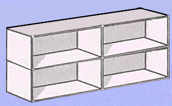 Place the boxes with the open ends towards you, and glue the second pair over the first to make a two-story house.