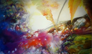 """A Closer Flare (A day in the Life of the Sun) ~ 72"""" x 50"""" oil on canvas by Alison Jardine"""