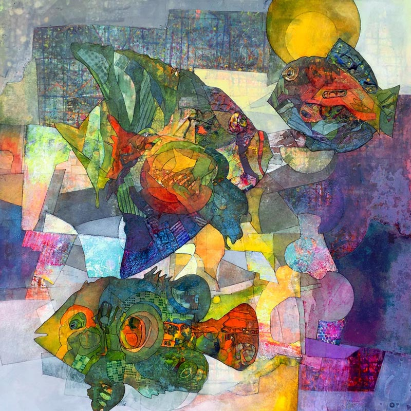 Sharon Blair is a multi-award winning mixed media artist. Her pieces are intuitive, inspired by imagination and a deep connection to nature. The result is a Contemporary Abstract style that offers a rich visual experience capturing the essence, spirit and feeling of a subject, in an organic and colourful way.