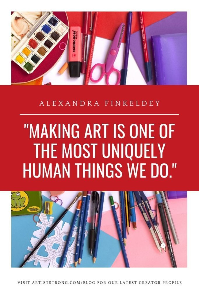 In this artist interview with Alexandra Finkeldey offers: -3 specific strategies she uses when she's feeling stuck, -opens up honestly about the battle we can have between our desire to create and consume (helloooo Netflix), and -Shares some great resources to help you build your skill and hone in on your unique voice. #mixedmediaart #illustrator #ottawaartist #artmarketing #acrylicpainting