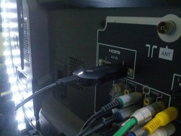 Plug Chromecast to TV