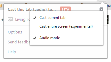 Google Cast Extension Menu
