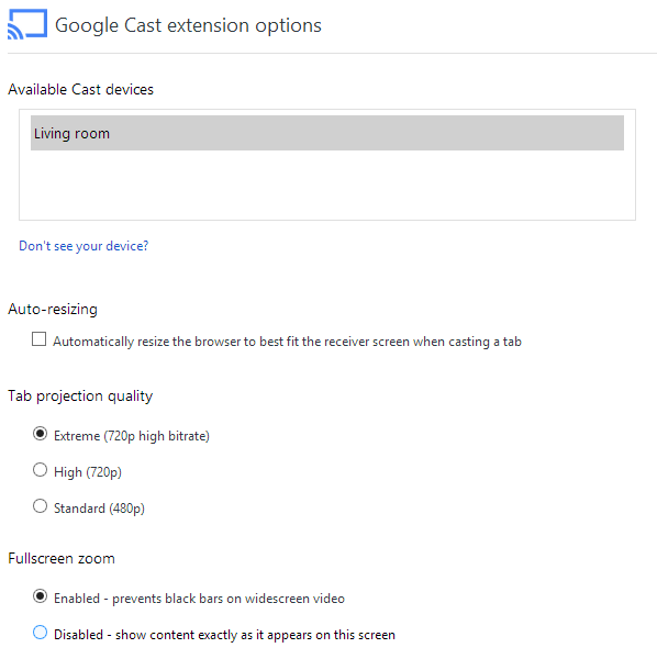 Google Cast Extension Setting