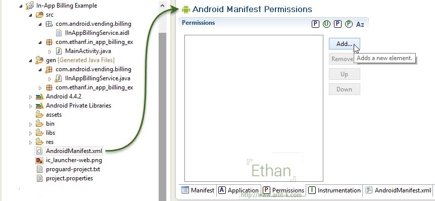 เปิดไฟล์ AndroidManifest.xml ไปที่ Tab Permissions คลิกปุ่ม Add...