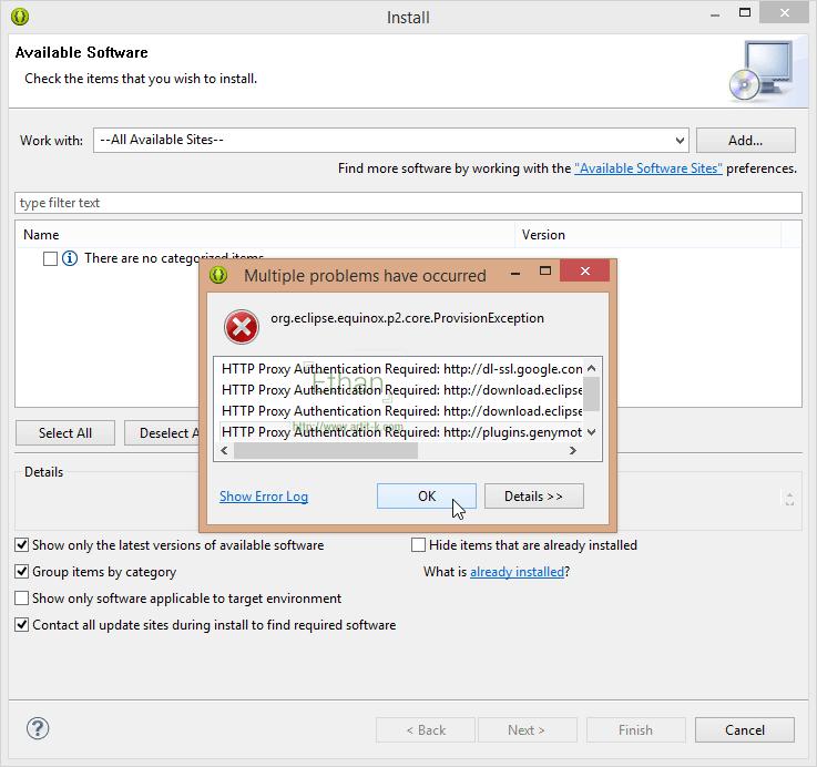 เมื่อสั่ง Install New Software... จากเมนู About จะเจอ Error แบบนี้ ก็คือว่า ต้องใช้งาน Internet ผ่าน Proxy ที่ต้อง Authenticate