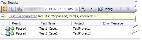 ผลการ Run Test Project