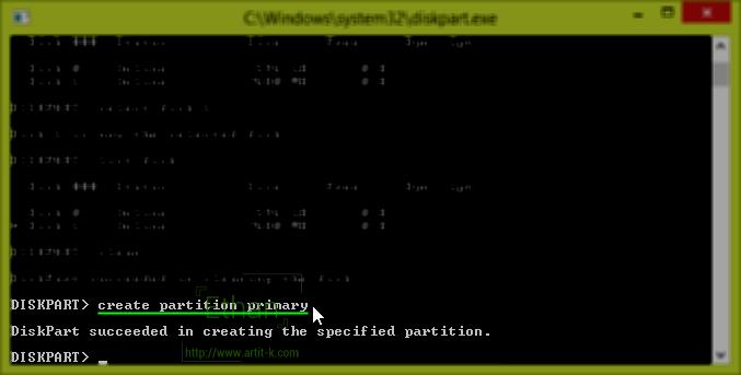 ป้อนคำสั่ง create partition primary เพื่อสร้าง Partition
