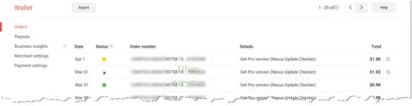 รายการสั่งซื้อจากลูกค้า บน Google Wallet Merchant Center