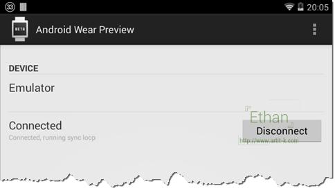 Android Wear Preview เมื่อเชื่อมต่อกับ Android Wear บน Emulator แล้ว
