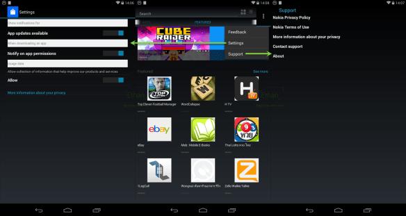 เมนูบน Nokia Store, Settings menu และ Support menu