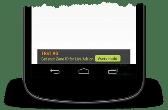 Test Ad แบบ Banner ของ Vserv.mobi
