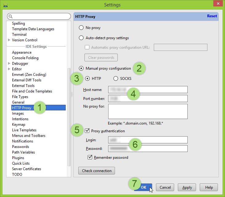 เมนู HTTP Proxy ภายใน Settings ของ Android Studio