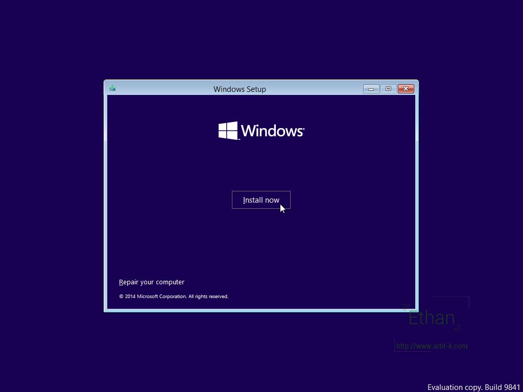 ปุ่ม Install now เพื่อเริ่มทำการติดตั้ง