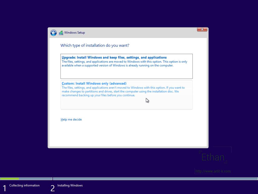 ตัวเลือก Upgrade กับ Clean Install