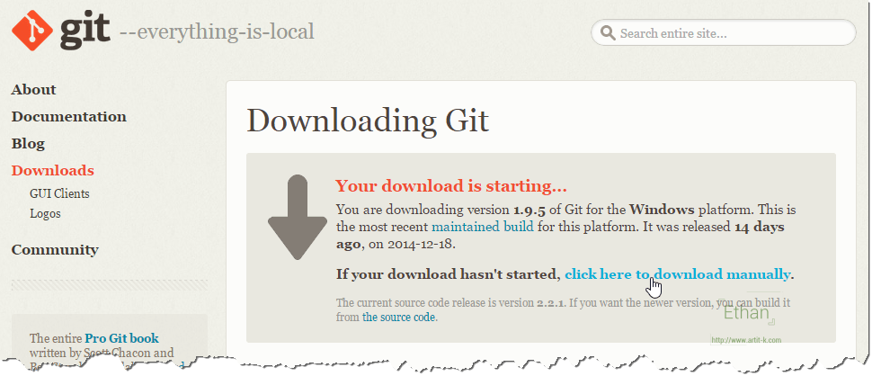 Download Git for Windows จากเว็บ git-scm.com