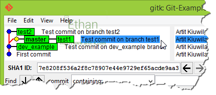 gitk แสดงผลหลังจาก Merge Branch test1 สู่ master