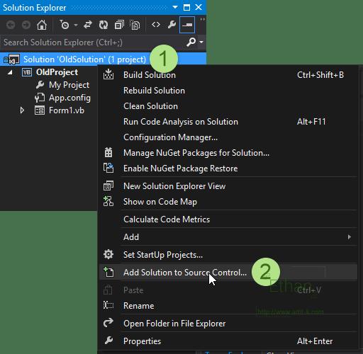 เมนู Add Solution to Source Control บน Solution Explorer