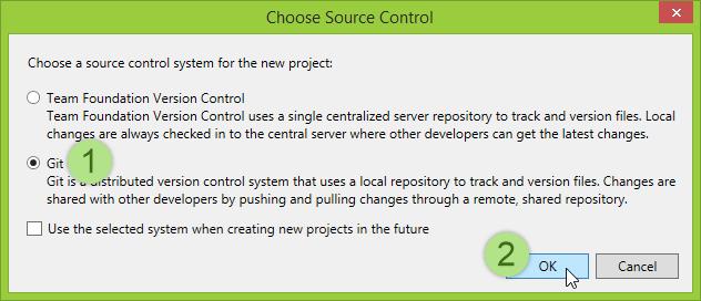 Visual Studio 2013 Choose Source Control dialog