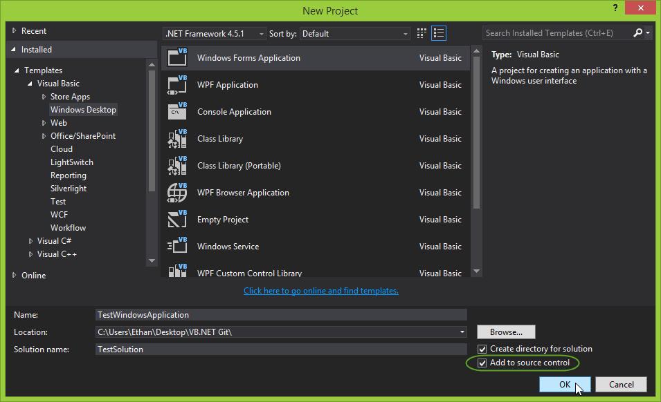 Visual Studio 2013 New Project dialog