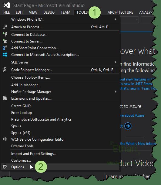 Visual Studio 2013 Options menu